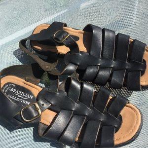 Vintage Brazilian strappy leather sandals